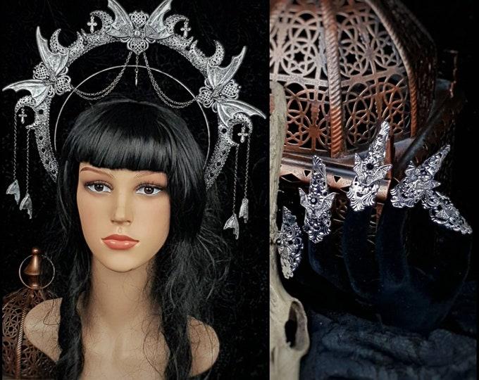 III. Set Vampire, Heiligenschein Haarreif & finger claws, gothic headpiece, gothic crown, holy crown, goth crown, blind mask / Made to order