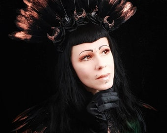 Halloween Special, Gothic Moon roses headpiece in copper black / Moon roses headband with black goose feathers,Sale