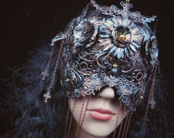 "Mask Couture ""Crucified flowers"" blind mask, maske mit Kreuzen, Ketten und Metallblumen, different colours Antique look /MADE TO ORDER"