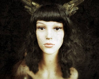 Antique gold/bronze Crystal Horn/Horns Headpiece, Pagan Crystal Horns Headband /Ready to ship