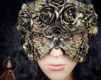 blind mask, mask of roses, gothic headpiece, gothic mask, fantasy mask, available in different colors and styles