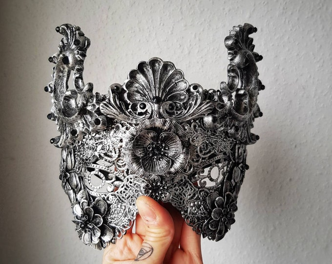 """READY TO SHIP/ Blind Mask """"Baroque"""", fantasy mask with resin ornaments, gothic crown, gothic headpiece, cosplay, medusa, cat ears, cat mask"""