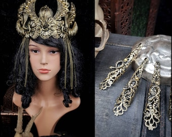 Cleopatra set, medusa costume, medusa crown, Cleopatra crown, medusa fingerclaws, gothic headpiece, snakes crown, goth crown / Made to order