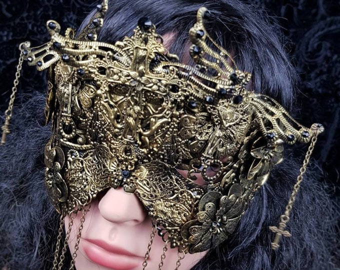 Ready to ship / Crucified blind mask, gothic crown, goth headpiece, cosplay, medusa costume, goth crown, fantasy mask, religious crown