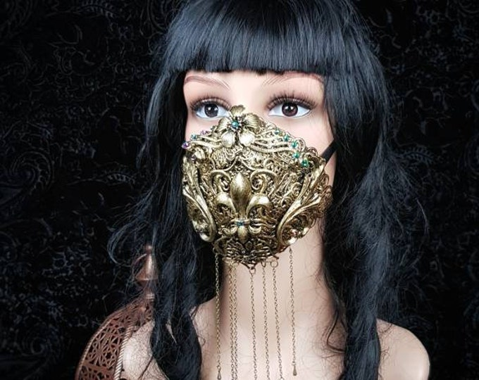 Fleur de lys, Art Nouveau Jaw mask, mouth mask, gothic mask, blind mask, baroque mask, gothic headpiece, goth crown, medusa / Made to order