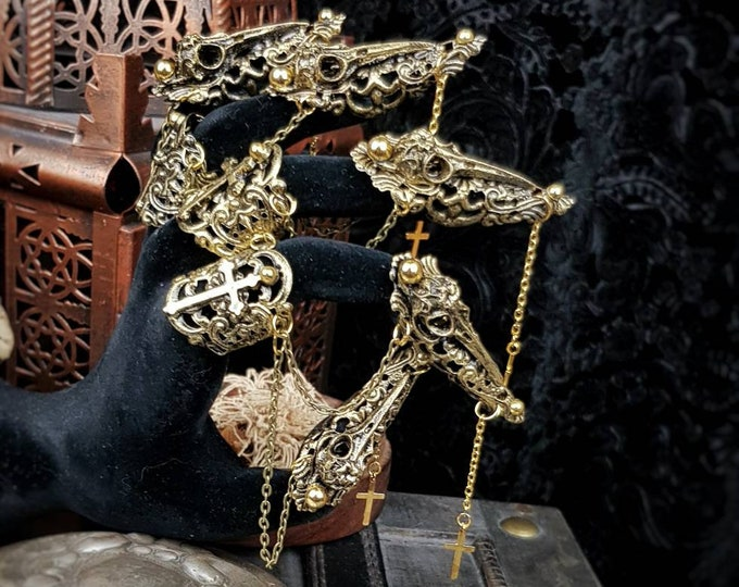 """II. """"Raven claws"""" finger armor, finger claws, fingerclaws with nail tips chains, metal glove, different colors available"""