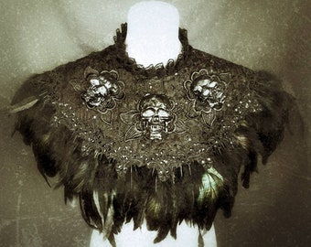 made to measure, black burlesque skull feather cape , cape with black and skull in resin with feathers, made to measure