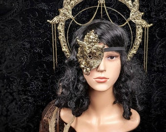 """Set """"Art Nouveau"""", halo headpiece and eyepatch, blind mask, gothic headpiece, fantasy mask, goth crown, gothic crown, MADE TO ORDER"""