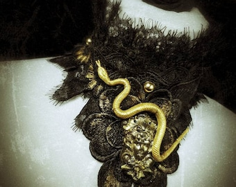 "The golden black ""Medusa head"" chocker,with snake and pearls, lace collar with snakes, pearls and medusagemme, handpainted"