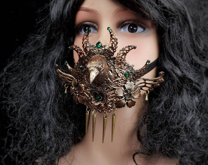 Morrigan Jaw mask, mouth mask, Maske, mouth patch, pagan, viking, medusa costume, gothic headpiece, blind mask, goth crown / Made to order