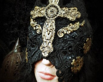 Baroque Holy gothic cross mask (blind mask) in gold black and metal flowers/Mask with a large Cross and Metal Flowers, MADE TO ORDER