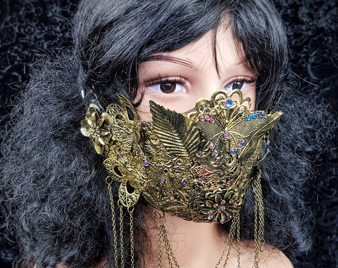 Ready to ship / Fairy butterfly jaw mask, Cosplay, mouth mask, gothic headpiece, gothic crown, medusa costume, blind mask, goth crown