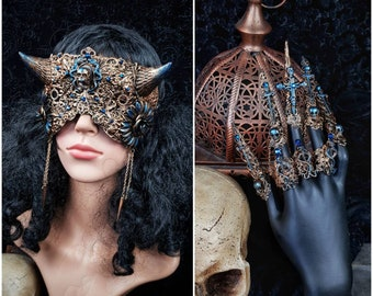 "Set ""Devil"" devil blind mask & finger claws, vikings, goth headpiece, devil mask, pagan, goth crown, medusa, cosplay / Made to order"