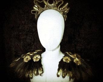 Set of Medusa Crystal Crown headpiece and Snake Epaullettes, black-gold or black-silver, Snakes Crown & Medusa Shoulder stücke/MADE TO ORDER