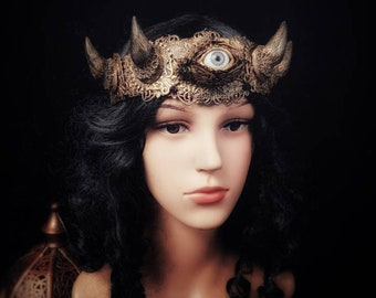 "Horns Crown ""Eye of the devil"", headpiece, demon, eyes crown with horns, available in different color/ MADE TO ORDER"