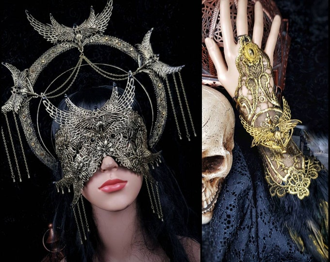 Set Holy Crow Heiligenschein, blind mask & 2 gloves, gothic headpiece, gothic halo, holy crown, goth crown, medusa costume / Made to order