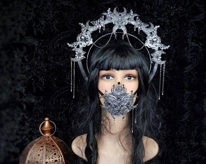 II.Set Death Moth Moon Halo & mouth mask, gothic headpiece, gothic halo, vampire crown, goth crown / Made to order