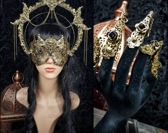 II.Set Art Nouveau Halo, blind mask & finger claws, gothic headpiece, gothic halo, holy crown, goth crown, medusa costume/ Made to order