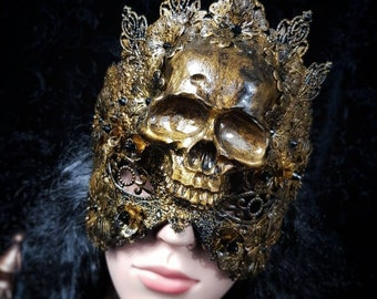 """Blind mask """"Skull"""" with filigree ornaments and crystals, Antique look, MADE TO ORDER"""