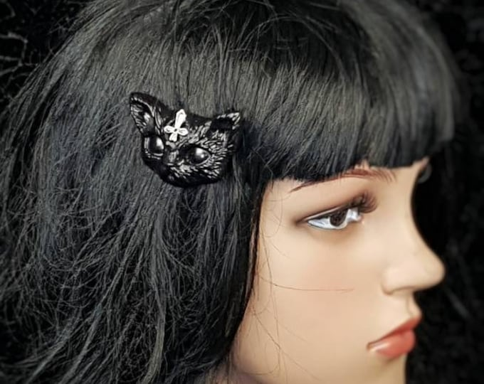 Gothic cat hair pin, goth headpiece, pagan headpiece, cat hair clip, different colors available, Made to order