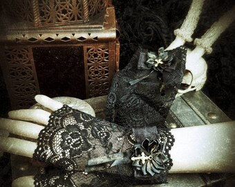 Gold Cross Gothic Lace Cuffs, Black lace arm tulips with a golden cross and a satin rose/READY TO SHIP