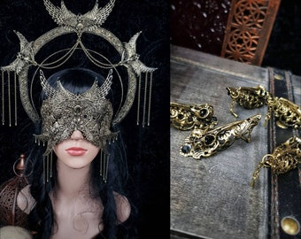 III.Set Holy Crow Headpiece, blind mask & finger claws, gothic headpiece, gothic halo, holy crown, goth crown, medusa costume/ Made to order