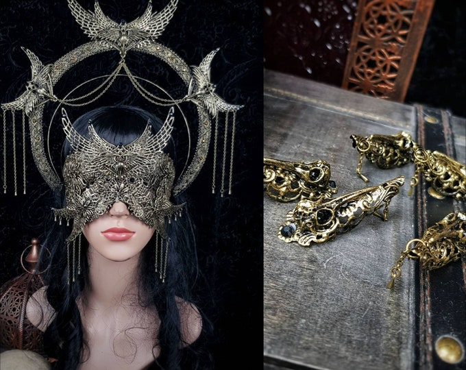 III.Set Holy Crow Headpiece, blind mask & finger claws, gothic headpiece, gothic halo, holy crown, goth crown, medusa costume/ Made to order