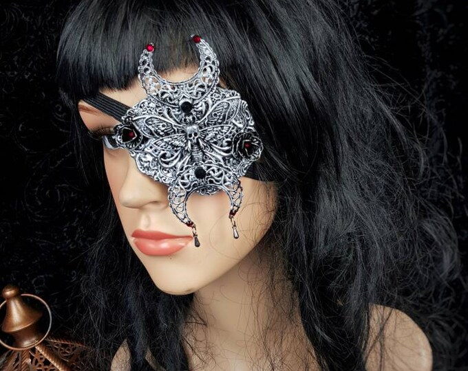 READY TO SHIP / Death Moth Moon  Eye Patch, totally blind, gothic headpiece, goth mask, Augenklappe, blimd mask