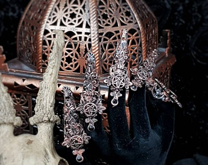 Witch Finger claws, 10 pieces with cross and pentagram , metal claws, fingerclaws, gothic headpiece, medusa costume, goth, / Made to order