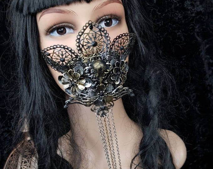 Raven Jaw mask, mouth mask, mouth patch, gothic mask, gothic headpiece, blind mask, medusa costume / Made to order