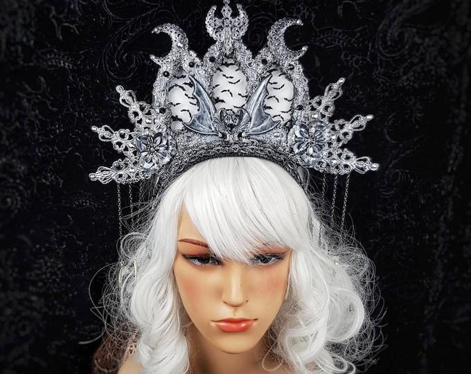 Stained glass, Vampire Church, cathedral headpiece, blind mask, Heiligenschein, gothic crown, gothic headpiece, goth crown/ Made to order