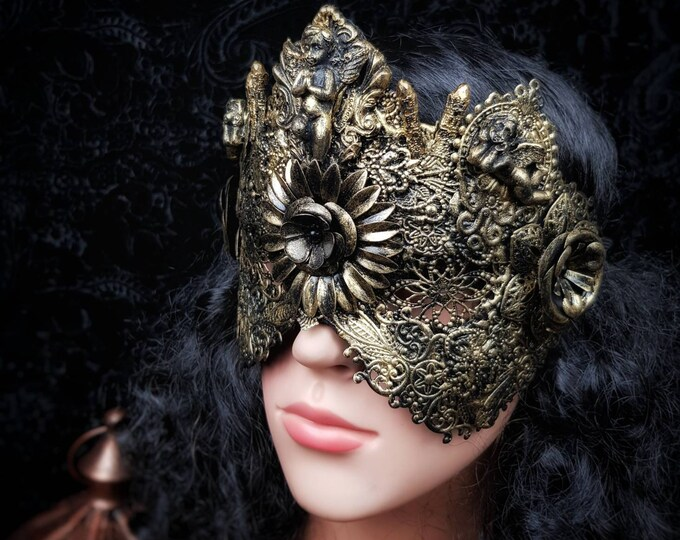 "Metal blind mask "" Holy Angel"" with Angels and Crystals, Antique look/ Blinde Maske mit Engel und Metallblumen im Antiklook / MADE TO ORDER"