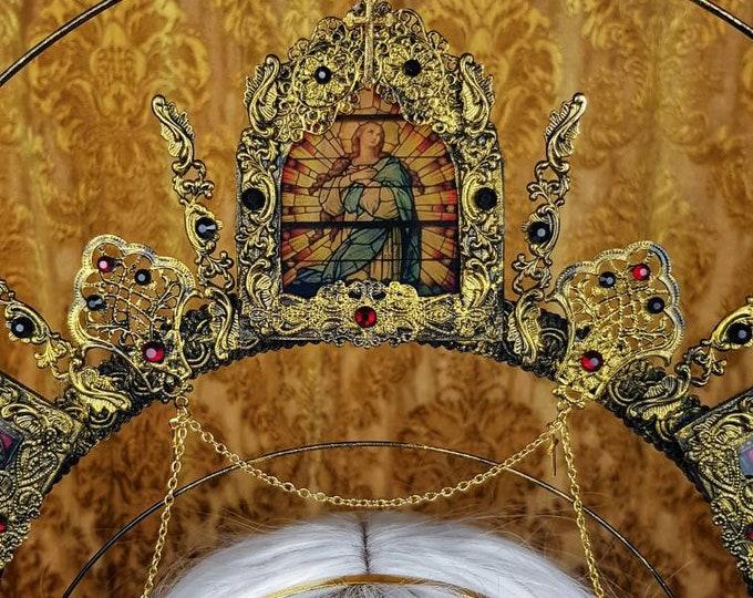 "Stained glass, Halo "" Angel "" cathedral headpiece, blind mask, Heiligenschein, Gothic Crown, gothic headpiece, goth crown/ Made to order"