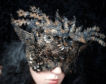 "metal Blindmask ""The rise of the phoenix"" in different colours and antique look, fantasy mask, available/MADE TO ORDER"