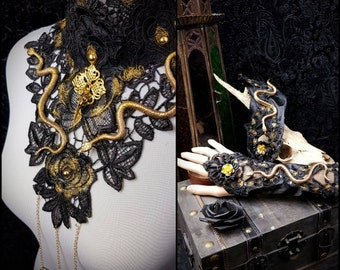 Golden Set of Medusa collar and matching fingerless gloves/snakes fantasy collar & matching arm tulips at the price of savings/MADE TO ORDER