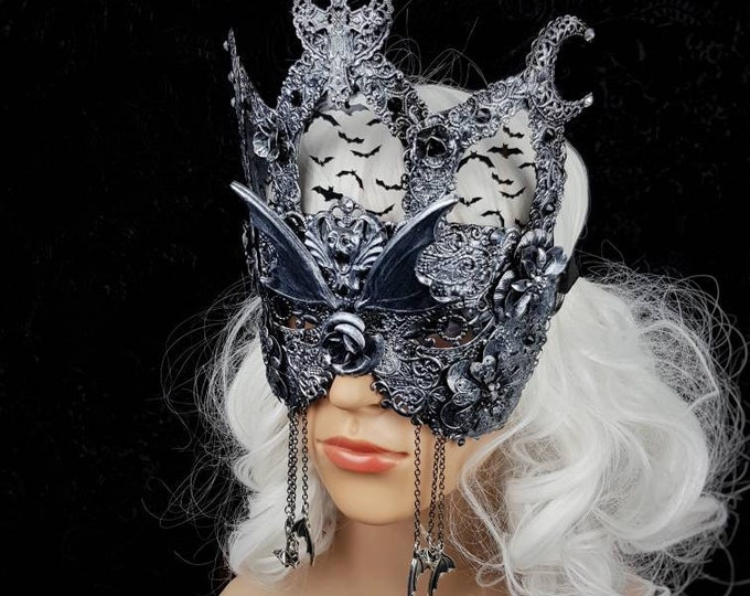 Blind mask, Vampire church stained glass, Cathedral, gothic headpiece, gothic crown, bat mask  fantasy mask, medusa costume / Made to order