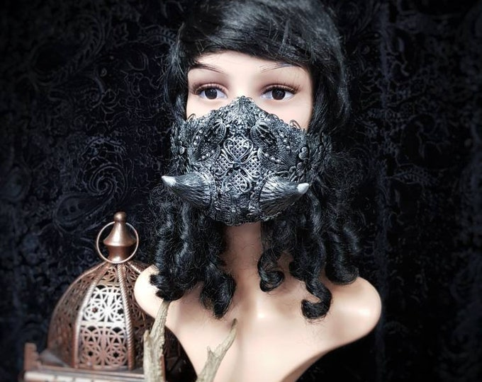 """Demons Whisper, jaw mask with horns, mouth mask,""""demon whisper"""" horns metal jaw mask, gothic headpiece, medusa /Made to order"""