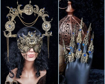 """Medusa IV. Set """" Anubis """" halo, blind mask & claws, Cleopatra, Medusa Costume, pharao, gothic headpiece, cosplay, goth crown /Made to Order"""