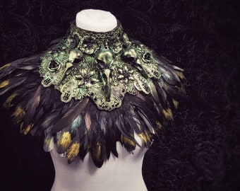 "Chest armor ""Black Swan"" Collar, metal collar,birdskulls (Resin),with or without feathers,different colors & Styles/ Made to measure"