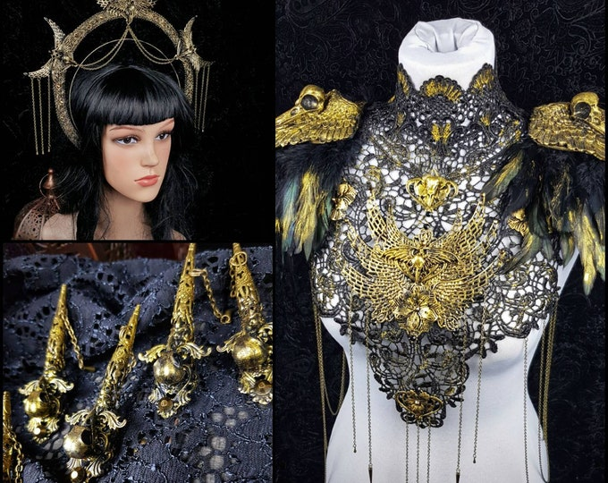 "Big Set "" Holy Crow "" Halo, collar & finger claws, gothic headpiece, gothic halo, holy crown, goth crown, medusa costume / Made to order"