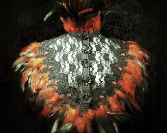 Bloody red vampire feather lace cape with crystal rincestone, lace cape with red crystals stones and coquefeathers feathers