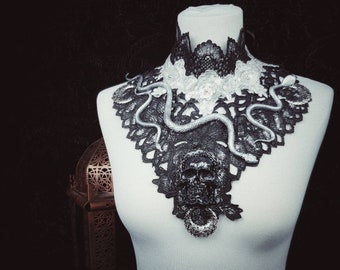 "Collar ""Godess of the Snakes"" , Medusa Collar with Skull, Snakes and Beads, different colors/ MADE TO ORDER"
