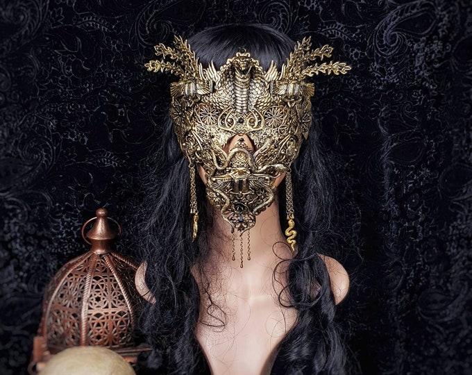 II.Set Cleopatra, cobra blind mask & jaw mask, medusa costume, gothic headpiece, goth crown, scarab ,  gothic crown / Made to order