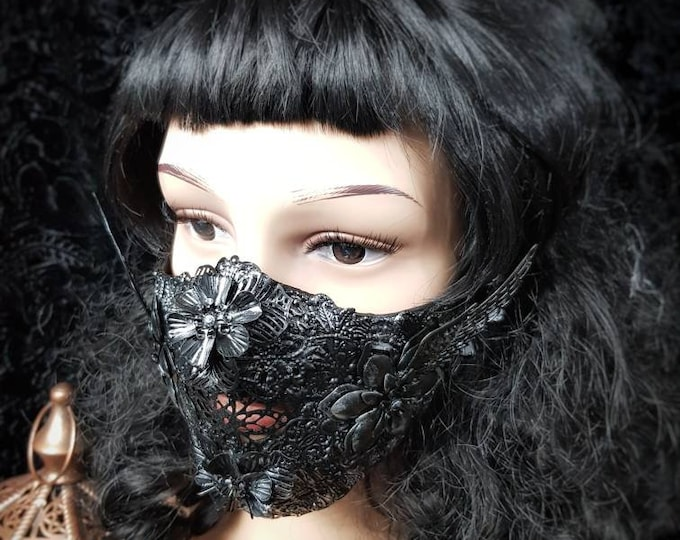 "Mouth Mask ""Phoenix"", Metall Unterkiefer Maske, jaw mask, gothic headpiece, gothic crown, medusa costume, blind mask, goth /  MADE TO ORDER"