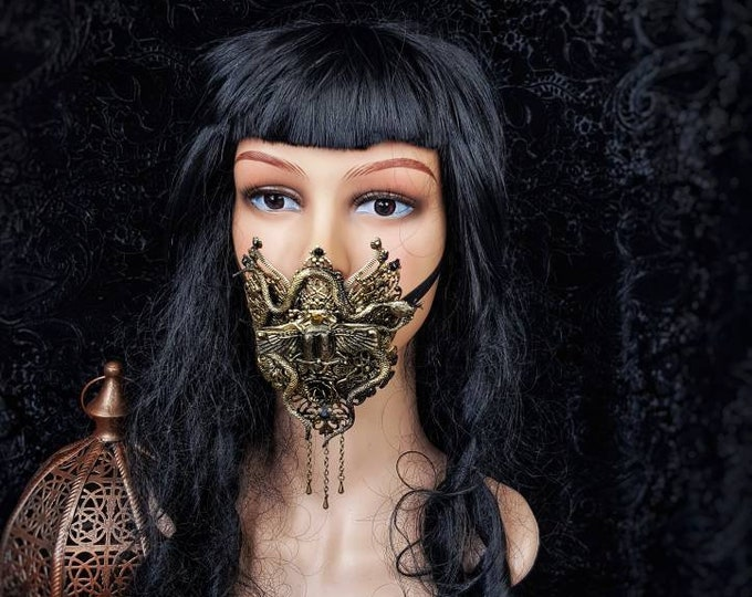 Scarab Jaw mask, mouth mask,fantasy mask, Maske, mouth patch, medusa costume, cleopatra, gothic headpiece, blind mask, goth / Made to order
