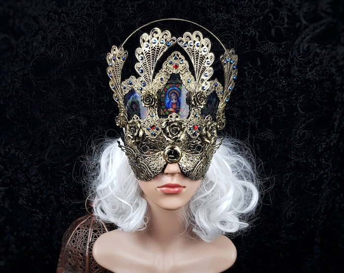 """Blind mask, halo, stain glass, """" Holy Roses """" , Cathedral headpiece, gothic headpiece, gothic crown, goth   medusa costume  / Made to order"""