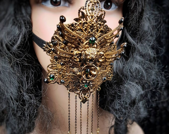 II.King Lionheart , mouth mask, mouth patch, gothic mask, gothic headpiece, blind mask, goth crown, jaw mask, medusa costume / Made to order
