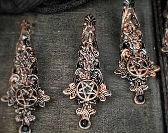 Witch Finger claws, 10 pieces, gothic, with cross and pentagram , metal claws, fingerclaws in different colors / Made to order