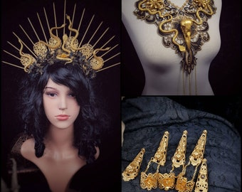 Special price set, Medusa headpiece, collar & finger claws, medusa costume, gothic headpiece, medusa collar, goth crown / Made to order