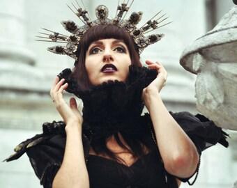 Golden gothic skull cross halo crown headpiece, golden gothic skull crown crown